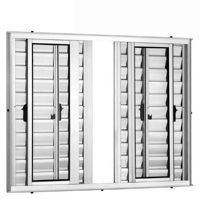 Janela Veneziana em Alumínio Branco 6 Folhas Vidro Liso Incolor - Linha 25 Vênus Trifel