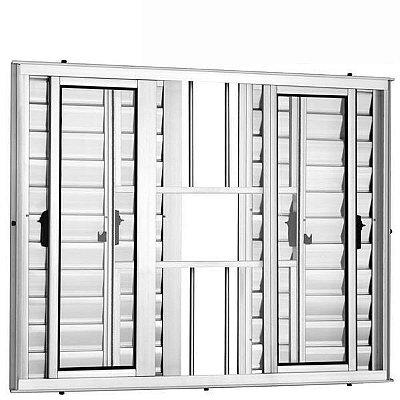 Janela Veneziana em Alumínio Branco 6 Folhas com Grade Vidro Liso Incolor - Linha 25 Vênus Trifel