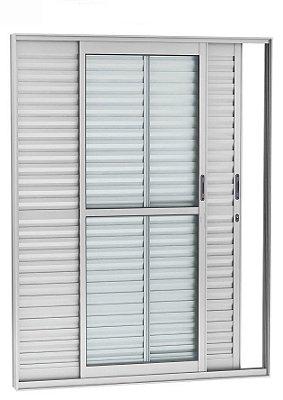 Porta Balcão em Alumínio Brilhante 3 Folhas Móveis Vidro Liso e Veneziana Com Fechadura - Linha 25 Esquadrisul