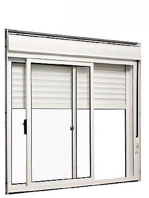 Janela Integrada em Alumínio Branco com Persiana de Enrolar e 2 Folhas Uma Fixa Vidro Liso Acionamento Manual - Linha 25 Vênus Trifel
