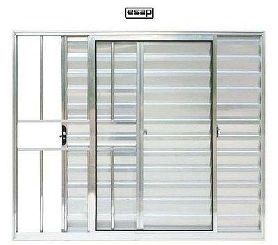Janela Veneziana em Alumínio Brilhante 3 Folhas Uma Fixa com Grade Vidro Liso - Linha Modular Esap