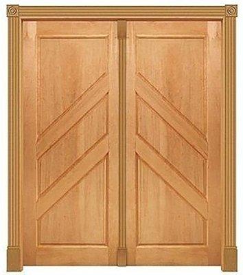 Porta de Abrir 2 Folhas em Madeira Cedro Arana 3 Almofadas Diagonal Montada no Batente de 14 Cm Sem Ferragem - Casmavi