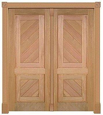 Porta de Abrir 2 Folhas em Madeira Cedro Arana CSMV 2 Diagonal Diagonal Montada no Batente de 14 Cm Sem Ferragem - Casmavi