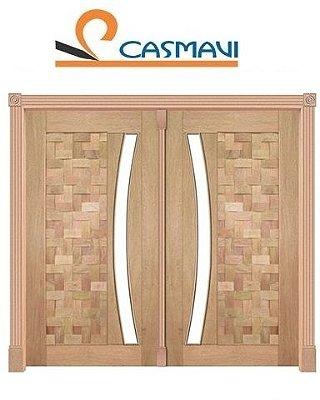 Porta de Abrir 2 Folhas Pivotante Couro Moderno 450 Vidro Arco em Madeira Cedro Arana Montada no Batente de 14 Cm com Pivô - Casmavi