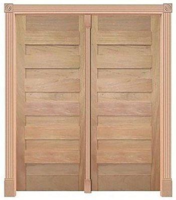 Porta de Abrir 2 Folhas Pivotante Espanhola 440 em Madeira Cedro Arana Montada no Batente de 14 Cm com Pivô - Casmavi