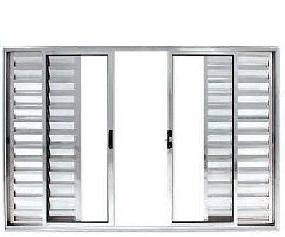 Janela Veneziana em Alumínio Brilhante 6 Folhas Vidro Liso - Linha Modular Esap