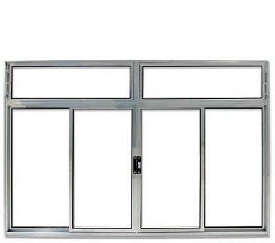 Janela de Correr em Alumínio Brilhante 4 Folhas Com Bandeira Vidro Liso Incolor - Linha Modular Esap
