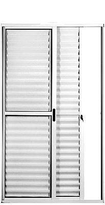 Porta Balcão em Alumínio Brilhante 3 Folhas Uma Fixa Vidro Liso e Veneziana Com Fechadura - Linha Max Lux Esquadrias