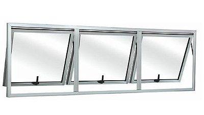 Janela Maxim-ar em Alumínio Branco três Seções Horizontal Vidro Mini Boreal - Linha 25 Top Esquadrisul