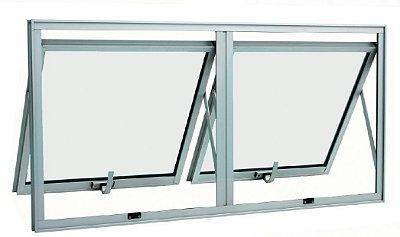 Janela Maxim-ar em Alumínio Brilhante duas Seções Horizontal Vidro Mini Boreal - Linha 25 Top Esquadrisul