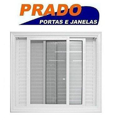 Janela Veneziana em Alumínio Branco 3 Folhas Móveis com Tela Mosqueteira Vidro Liso Incolor - Linha Boldie Prado