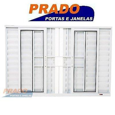 Janela Veneziana em Alumínio Branco 6 Folhas com Grade Vidro Liso Incolor - Linha Boldie Prado