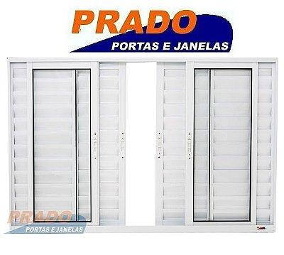 Janela Veneziana em Alumínio Branco 6 Folhas Com Tela Mosqueira Vidro Liso Incolor - Linha Boldie Prado