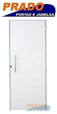 Porta de Abrir (Giro) em Alumínio Branco Lambri Com Puxador - Linha Boldie Prado