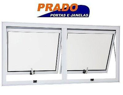 Janela Maxim-ar em Alumínio Branco duas Seções Horizontal Vidro Mini Boreal - Linha 25 Prado