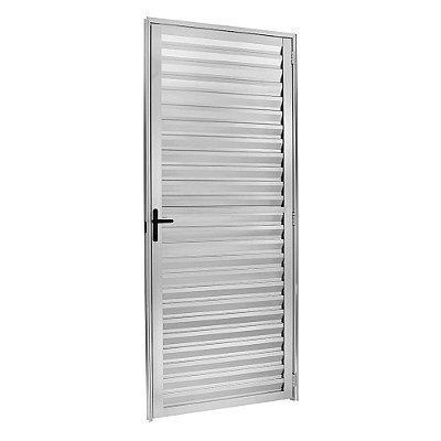 Porta de Abrir (Giro) em Alumínio Brilhante Palheta Sem Ventilação - Linha 25 Esquadrisul
