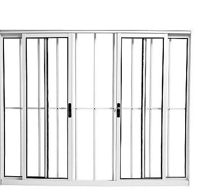 Janela de Correr em Alumínio Branco 4 Folhas com Grade Vidro Canelado - Linha Modular Esap