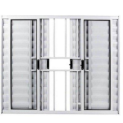 Janela Veneziana em Alumínio Branco 6 Folhas com Grade Vidro Canelado - Linha Modular Esap