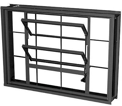 Janela Basculante em Aço com Grade Quadriculado Sem Vidro - Requadro 12 cm - Linha Prata Gerotto