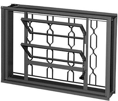 Janela Basculante em Aço com Grade Elo Sem Vidro - Requadro 12 cm - Linha Prata Gerotto