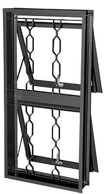 Janela Maxim-Ar em Aço duas Seções Vertical com Grade Elo sem Vidro - Requadro 12 cm - Linha Prata Gerotto