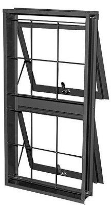 Janela Maxim-Ar em Aço duas Seções Vertical com Grade Quadriculado sem Vidro - Requadro 12 cm - Linha Prata Gerotto