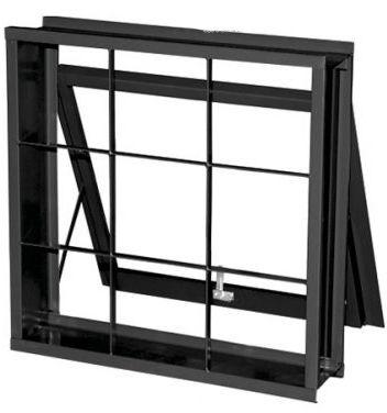 Janela Maxim-Ar em Aço uma Seção com Grade Quadriculado sem Vidro - Requadro 12 cm - Linha Prata Gerotto