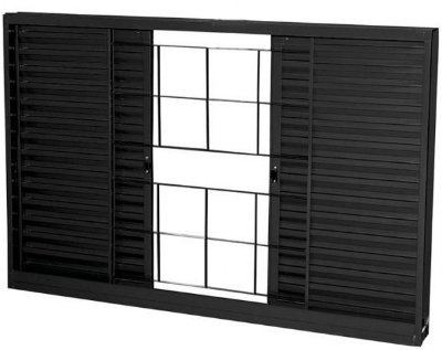 Janela Veneziana em Aço 4 Folhas Com Grade Quadriculado Sem Folha para Vidro - Requadro 12 cm - Linha Prata Gerotto