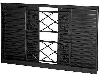 Janela Veneziana em Aço 4 Folhas Com Grade Tubular Sem Folha para Vidro - Requadro 12 cm - Linha Prata Gerotto
