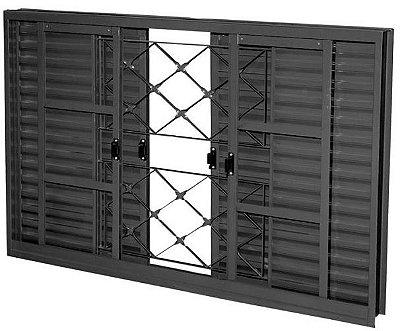 Janela Veneziana em Aço 6 Folhas Com Grade Xadrez Com Folha para Vidro - Requadro 12 cm - Linha Prata Gerotto