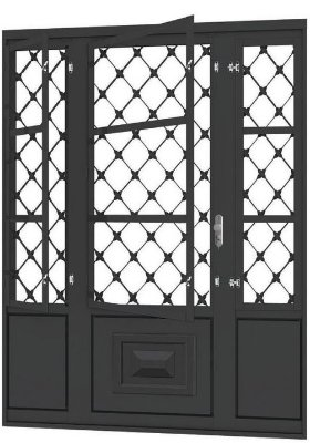 Porta de Abrir Seteira Dupla em Aço com Postigo Grade Xadrez sem Vidro com Fechadura Requadro 12 cm - Linha Ouro Gerotto