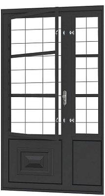Porta de Abrir Seteira Simples em Aço com Postigo Grade Quadriculado sem Vidro com Fechadura Requadro 12 cm - Linha Ouro Gerotto