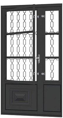 Porta de Abrir Seteira Simples em Aço com Postigo Grade Elo sem Vidro com Fechadura Requadro 12 cm - Linha Ouro Gerotto