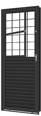 Porta de Abrir Social Mista  em Aço com Postigo Grade Quadriculado sem Vidro com Fechadura - Requadro 12 cm - Linha Prata Gerotto