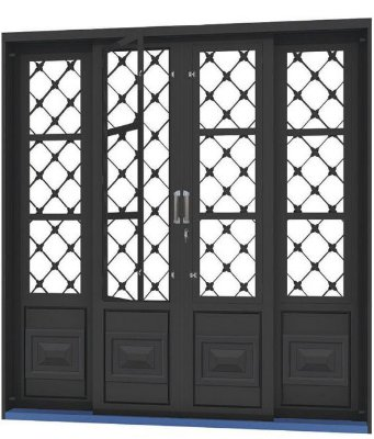 Porta de Correr em Aço 4 Folhas com Postigo Grade Xadrez sem Vidro com Fechadura - Requadro 12 cm - Linha Ouro Gerotto