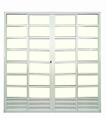 Porta de Correr em Alumínio Branco Com Travessa 4 Folhas Vidro Liso Com Fechadura - Linha 25 Trifel