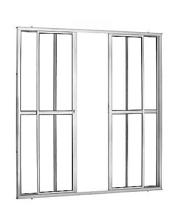 Porta de Correr em Alumínio Brilhante 4 Folhas Vidro Liso Com Fechadura - Linha 25 Trifel