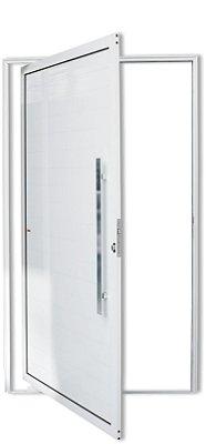 Porta Pivotante em Alumínio Branco Lambril Puxador 80 cm Milão Fechadura Rolete - Brimak Super