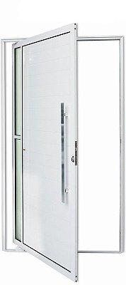 Porta Pivotante em Alumínio Branco Visione 2 Vidros Temp. 6 mm Puxador 80 cm Milão Fechadura Rolete