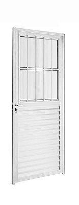 Porta de Abrir (Giro) em Alumínio Brilhante Social com Postigo Vidro Canelado - Linha 25 Trifel