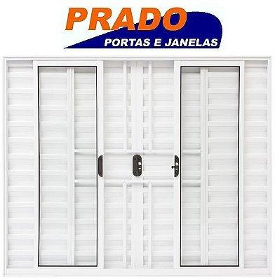 Janela Veneziana em Alumínio Branco 6 Folhas com Grade Vidro Liso Incolor - Linha Normatizada Prado