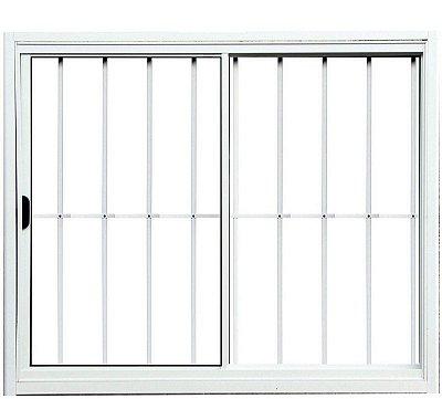 Janela de Correr em Alumínio Branco 2 Folhas Uma Fixa com Grade Vidro Liso Incolor - Linha Normatizada Lux Esquadrias