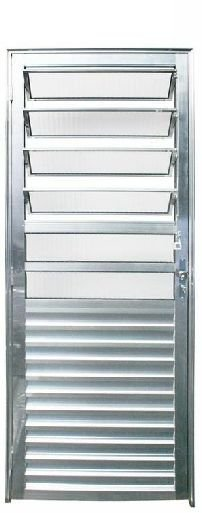 Porta de Abrir (Giro) em Alumínio Brilhante Com Basculante Vidro Canelado - Linha 25 Esap