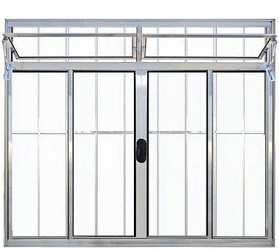 Janela de Correr em Alumínio Brilhante 4 Folhas Com Bandeira e Grade Vidro Liso Incolor - Linha Normatizada Lux Esquadrias