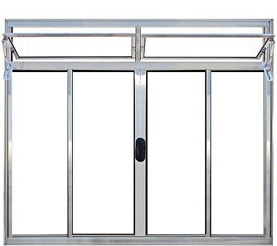 Janela de Correr em Alumínio Brilhante 4 Folhas Com Bandeira Vidro Liso Incolor - Linha Normatizada Lux Esquadrias