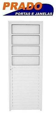 Porta de Abrir (Giro) em Alumínio Branco Com 4 Vidros Canelado Fixo - Linha 30 Prado