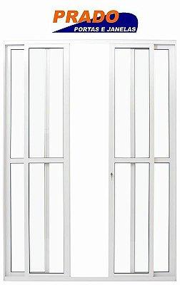 Porta de Correr em Alumínio Branco 4 Folhas de Vidro Liso Com Fechadura - Linha 25 Prado