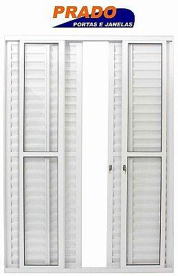 Porta Balcão em Alumínio Branco 6 Folhas Vidro Liso Com Fechadura - Linha 25 Prado