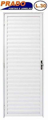 Porta de Abrir (Giro) em Alumínio Branco Palheta Sem Ventilação - Linha 30 Prado
