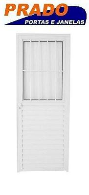 Porta de Abrir (Giro) em Alumínio Branco Social com Postigo Vidro Mini Boreal - Linha 25 Prado